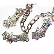 Bracelet - Scroll Style Music Staff with Crystal Charms