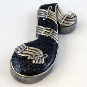 Cloisonne Box - Enameled Black & Silver Music Note