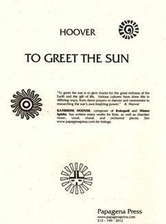 Hoover, K :: To Greet the Sun