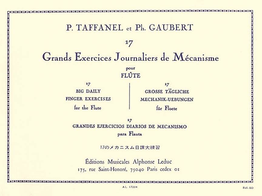 Taffanel, P; Gaubert, P :: 17 Grands Exercices Journaliers de Mecanisme [17 Great Daily Finger Exercises]