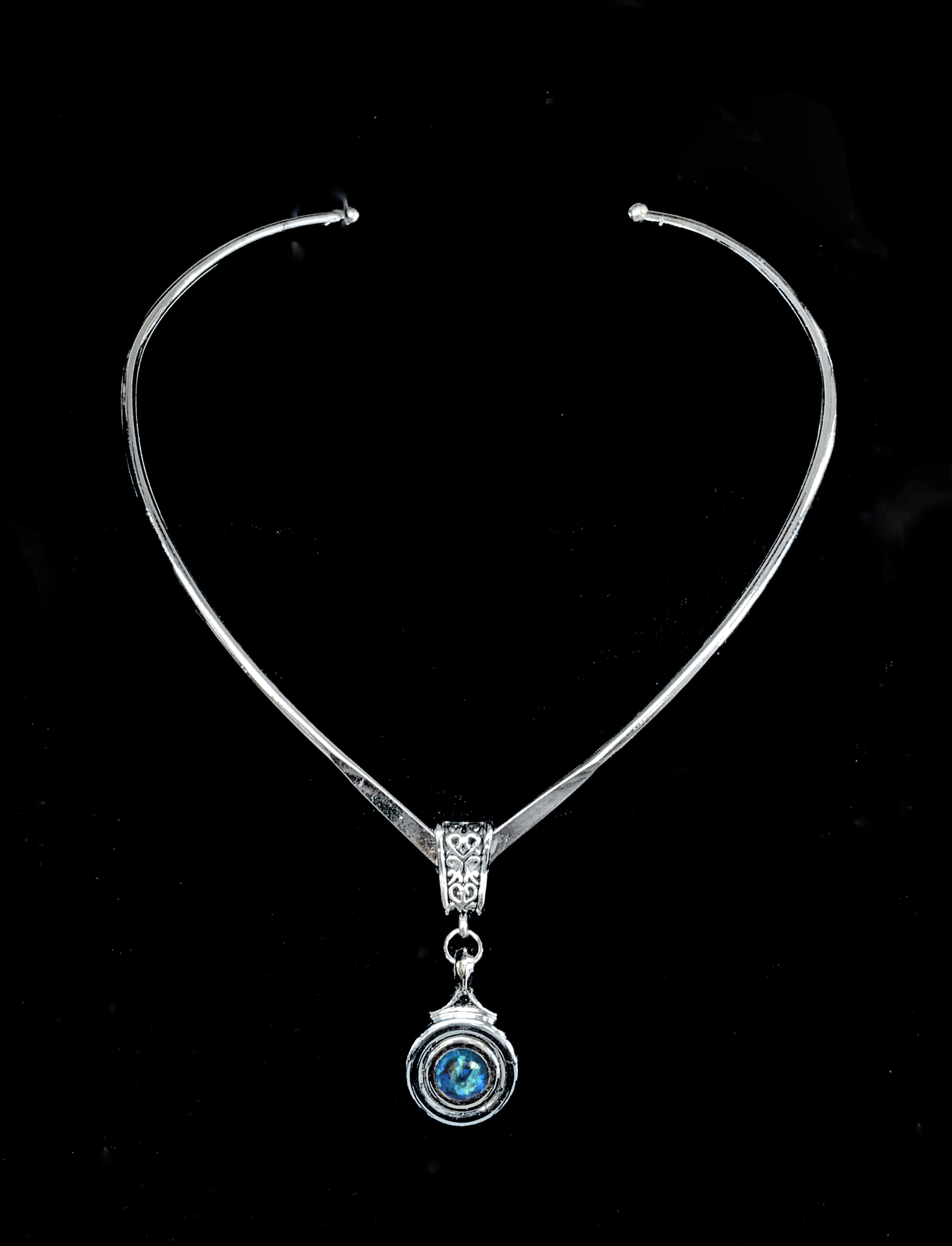 Necklace - 'Virtuosa' French Key with inset Swarovski Crystal on Shaped Wire