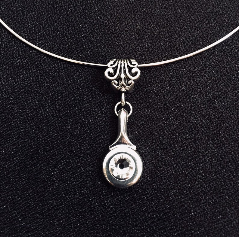 Necklace - Flute Trill Key with Mounted Swarovski Crystal
