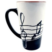 Latte Mug with Music Notes - Tall