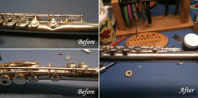 Damaged Flute Before and After Repair