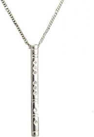 Necklace - Silver Flute with Rhinestones