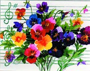 Note Cards - Pansies and Staff