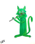 Painting - Christmas Kitty with Flute
