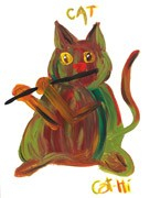 Painting - Swamp Kitty with Flute