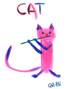 Painting - Pink Kitty with Flute