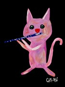 Painting - Bubblegum Kitty with Flute