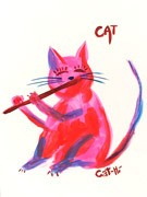 Painting - Pretty Kitty with Flute