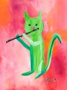 Painting - Watercolor Kitty with Flute