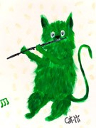 Painting - Green Yeti Kitty with Flute