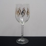 Wine Glass with Gold G Clef Design