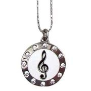 Circle Treble Clef Necklace with Rhinestones