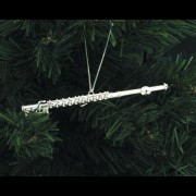 Silver Finish Flute Ornament - Medium