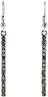 Earrings - Flute Silver with Rhinestones