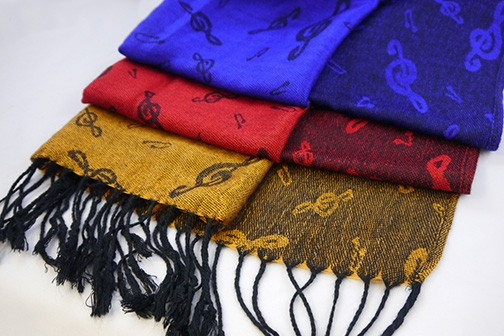 Pashmina with Treble Clefs Detail
