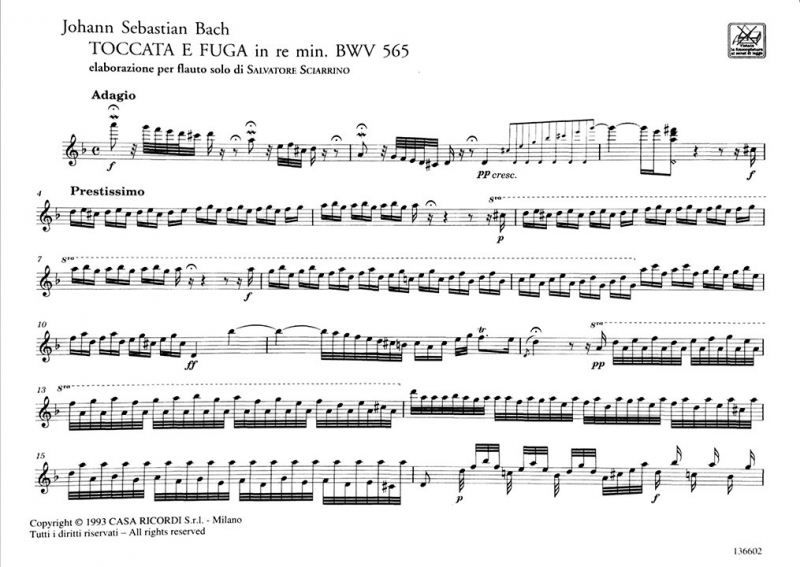 Toccata and Fugue in D minor BWV 565 Page 1