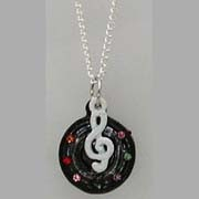 Necklace - Treble Clef and Jeweled Disk Charm